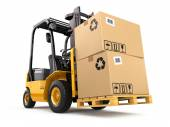 Forklift truck with boxes on pallet. Cargo. — Stock Photo