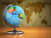 Globe  with a political map on vintage background. — Stock Photo