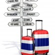 Travel concept. Suitcases and signpost what to visit in Thailand — Stock Photo #55940123
