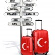 Travel concept. Suitcases and signpost what to visit in Turkey. — Stock Photo #55940171