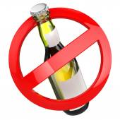 No alcohol sign.  Bottle of beer on white isolated background. — Stock Photo