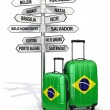 Travel concept. Suitcases and signpost what to visit in Brazil. — Stock Photo #56412439