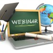 Webinar education concept. Laptop with blackboard, mortar board  — Stock Photo #56412441