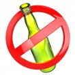 Stop alcohol or No glass sign.  Bottle on white isolated backgro — Stock Photo #56412453