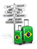 Travel concept. Suitcases and signpost what to visit in Brazil. — Stock Photo