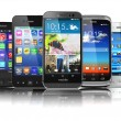 Choosing of mobile phone.  Different modern smartphones with tou — Stock Photo #57004963