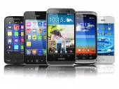 Choosing of mobile phone.  Different modern smartphones with tou — Stock Photo