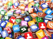 Software. Smartphone or mobile phone app icons background. — Stock Photo