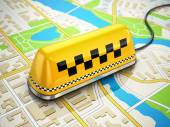 Taxi car sign on the city map. — Stock Photo