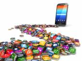 Software. Smartphone or mobile phone app icons background. — Foto de Stock
