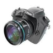 DSLR Digital photo camera isolted on white. — Foto de Stock
