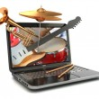 Digital music composer concept. Laptop and musical instruments. — Stock Photo #59701621