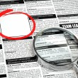Job search concept. Loupe, newspaper with employment advertiseme — Stock Photo #59701623