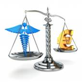 Choice health or money. Caduceus and euro signs on scales. — Photo