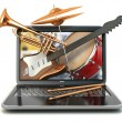 Digital music composer concept. Laptop and musical instruments. — Stock Photo #61447261