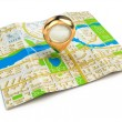 Navigation concept. GPS map of the city and golden pin. — Stock Photo #61447265