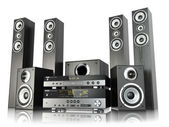Home cinema speaker system. Loudspeakers, player and receiver. — Stock Photo
