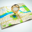 Navigation concept. GPS map of the city and golden pin. — Stock Photo #61918925