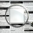 Job search concept. Loupe, newspaper with employment advertiseme — Stock Photo #62539483