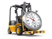 Forklift truck with stopwatch .Express delivery concept. — Zdjęcie stockowe