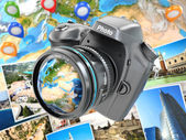 Digital photo camera on background from earth and photographs. — Stock Photo