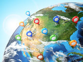 Travel destination concept. Pin on earth. Navigation in USA. — Stock Photo