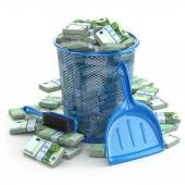 Packs of euro in the garbage can. Waste of money or currency col — Stock Photo