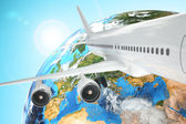Airplane travel background. Airliner and earth. — Stock Photo