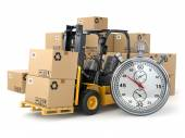 Forklift truck with  boxes and stopwatch .Express delivery conce — Stock Photo