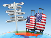Travel concept. Suitcases and signpost what to visit in USA — Stock Photo