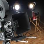 Video, movie, cinema concept. Retro camera, flash and director's — Stock Photo #64913101