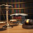 Justice concept. Gavel,  golden scales and books in the library  — Stock Photo #66817995