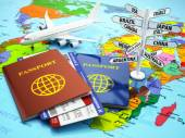 Travel or tourism concept. Passport, airplane, airtickets and de — Stock Photo