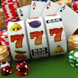 Casino concept. Jackpot. Poker cards, chips and dice. — Stock Photo #69482119