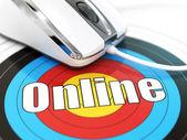 Online concept. Muis op de doelgroep met tekst. — Stockfoto