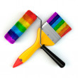 Renovation tools concept. Paint brush and roller in rainbow colo — Stock fotografie #71255655