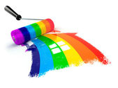 Construcrion concept.Roller brush with sign of house in rainbow — Stock Photo