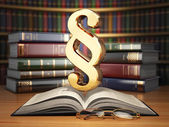 Paragraph sign on the vintage book in library. Law concept. — Stock Photo