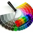 Roller brush and color guide palette in rainbow colors. — Stockfoto #72363315