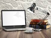 Laptop with books and coffee cup on the vintage desk. Modern sty — Stock Photo