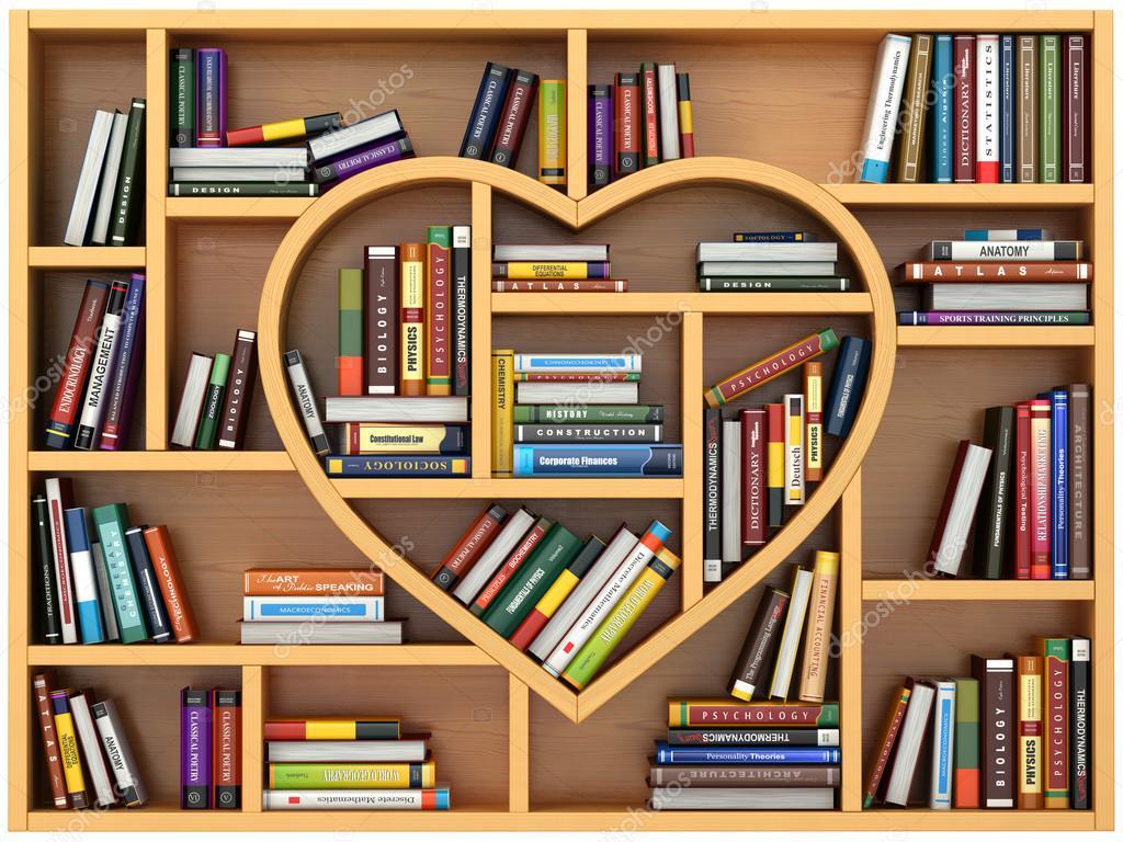 Onderwijs Concept Boekenkast Met Boeken En Schoolboeken