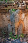 Elephant image in ancient Burmese Buddhist pagodas  — Stock Photo