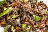 Fried edible insects mix with green lime leaves — Stock Photo