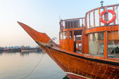 Big wooden boat moored up in a port — Foto Stock