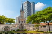 Entrance and old Chijmes church turret in neoclassical style — Stock Photo
