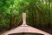 Wooden boat in dark mangroves forest. — Стоковое фото