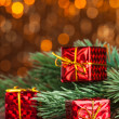 Branch of Christmas tree with gift box — Stock Photo #59906439
