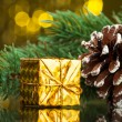 Branch of Christmas tree with gift box — Stock Photo #59906629