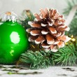 Branch of Christmas tree with decoration ball — Stock Photo #59907665