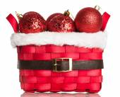 Christmas decorations on red basket — 图库照片